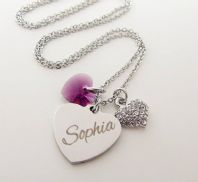 PERSONALIZED STAINLESS STEEL  SWAROVSKI  HEART NECKLACE
